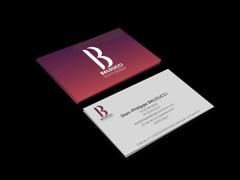 Création d'identité visuelle pour Balducci Immobilier, carte de visite.