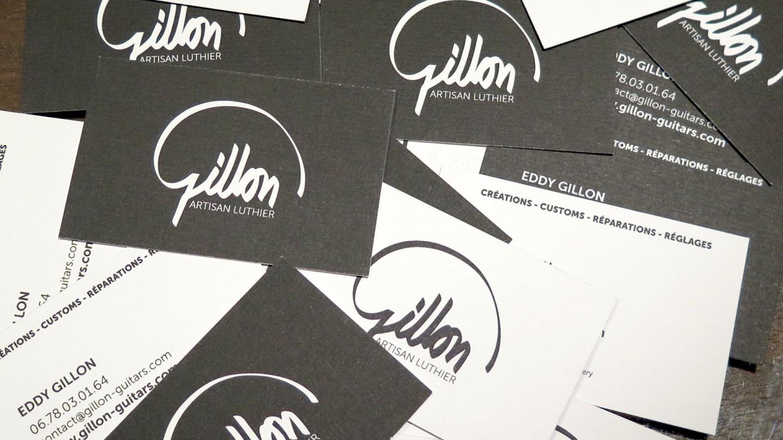 Cartes de visite noires et blanches de Gillon, artisan luthier