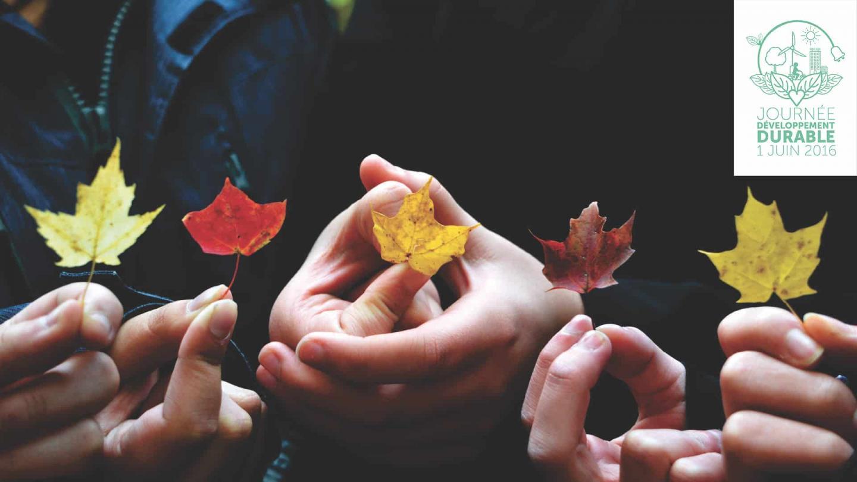 mains d'enfant tenant des petites feuilles logo développement durable Vinci en haut à droite